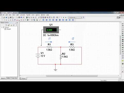 NI Multisim: Measure DC current with an ammeter indicator