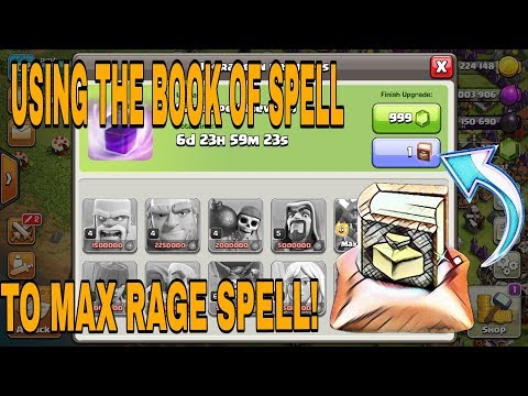 HOW TO USE BOOK OF SPELLS(MAGICAL ITEM) IN COC?? (INSTANTLY FINISH UPGRADE OF SPELL IN LABORATORY)!!
