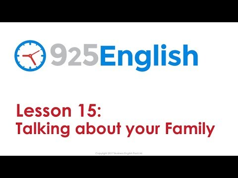 925 English Lesson 15 - Talking about your Family in English | English Conversation Lessons