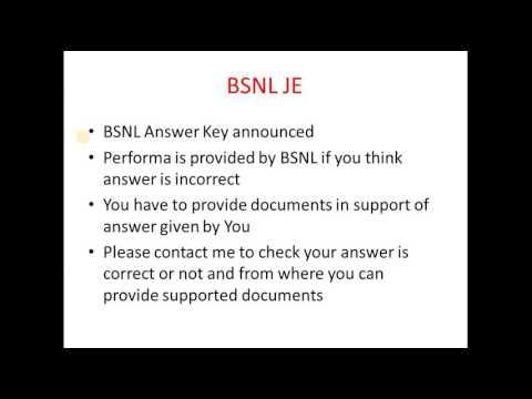 BSNL provisional answer Key announced