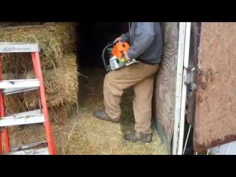 The camera shy farmer Cutting hay bales with a Chain Saw     Produce 144