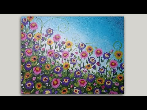 Acrylic Painting Whimsical Flower Garden on Sponge Painted Background