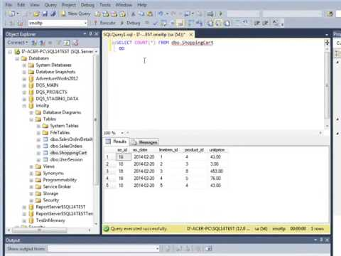 Performance test of SQL Server 2014 OLTP In Memory function with millions of rows