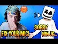 """Ninja YELLS At Marshmello For """"LOUD Background"""" Noises! *TRIGGERED* Fortnite EPIC & FUNNY Moments"""