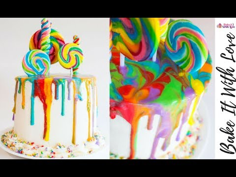 Rainbow Lollipop Drip Cake - How to Make a Drip Cake