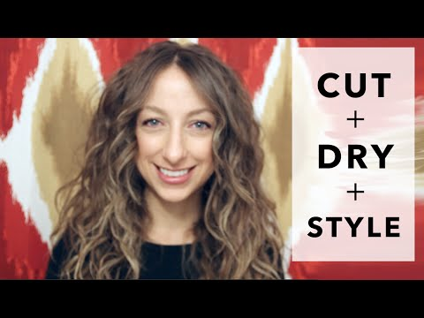 CUT DRY + STYLE CURLY HAIR | long bangs, natural curls