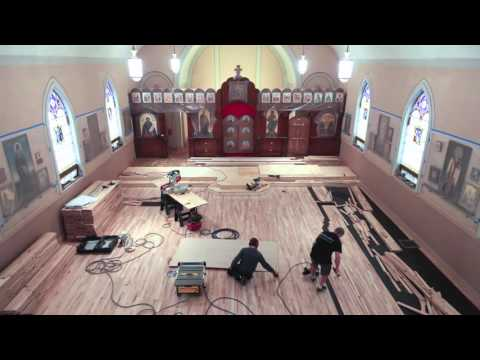 Time Lapse of Hardwood Floor Installation Sanding and Finishing.