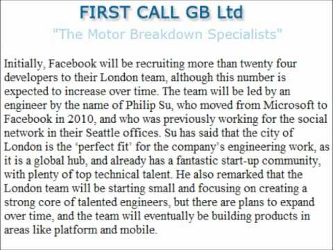 Facebook engineering team setting up shop in London, says First Call GB Ltd