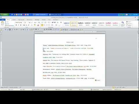 MLA Works Cited Page: Hanging Indent