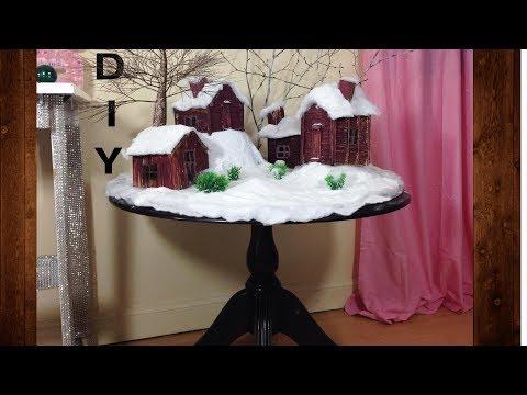 DIY winter village. Christmas decor craft ideas.