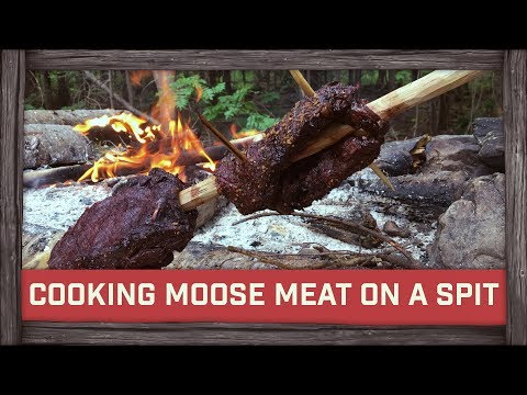 Cooking Moose Meat On A Spit! w/BushcraftBartons