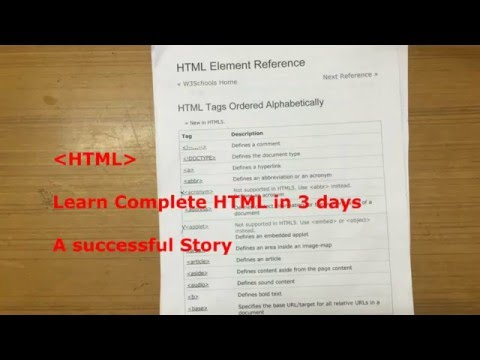 Learn HTML in 3 days! A successful story (HINDI)