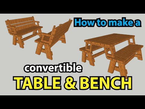 How to make a convertible TABLE and BENCH | SketchUp 2017