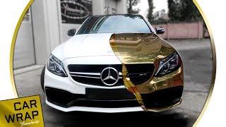 White Mercedes C63S AMG wrapped Chrome Gold
