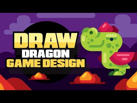 How To Draw A Video Game Dragon - Dragon for a Game Design and Cartoon - Illustrator Tutorial