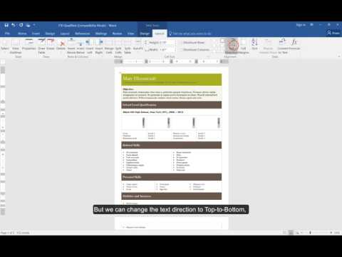 Using tables to create Resumes in Microsoft Word