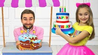 Sasha and Dad celebrating mommy's Birthday and buy Presents