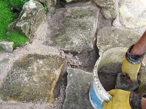 Grouting a stone path