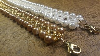 fb31cfef04fa Hermosa Pulsera de Perlas y Mostacillas...Clase  130!
