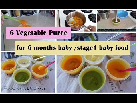 6 Vegetable Puree for 6 months baby | stage 1 - homemade baby food recipe | 6 months babyfoodrecipe