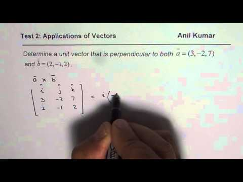 Perpendicular Unit Vector Application of Cross Product