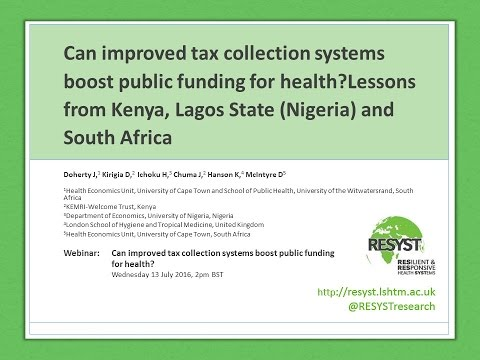 Webinar 3: Can improved tax collection systems boost public funding for health?