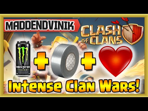 Clash of Clans - Monster + Duct Tape + Pounding Heart = Intense Clan Wars! (Gameplay Commentary)