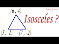 Are the points (6 , 4) .(5 , -2) & (7 , -2) vertices of an isosceles triangle ?