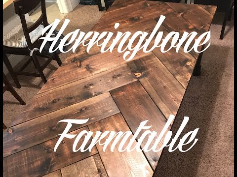 DIY Herringbone Farmhouse Table