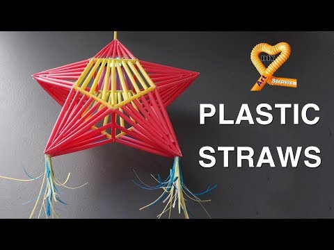 Diy Christmas ornaments with straws - Xmas lantern Parol made of Plastic Straw