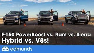Drag Race! Ford F-150 vs. Ram 1500 vs. GMC Sierra | Racing Pickup Trucks! | 0-60 Performance & More