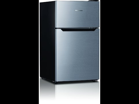 Hisense RT33D6AAE Compact Refrigerator with Double Door Top Mounted Freezer, 3.3 cu. ft., Stainless