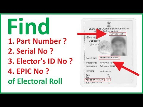Voters Card - Find Part Number, Serial No, Elector's Photo ID No,EPIC No. of Electoral Roll