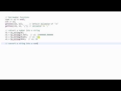 C++ String #4:  Non-member Functions