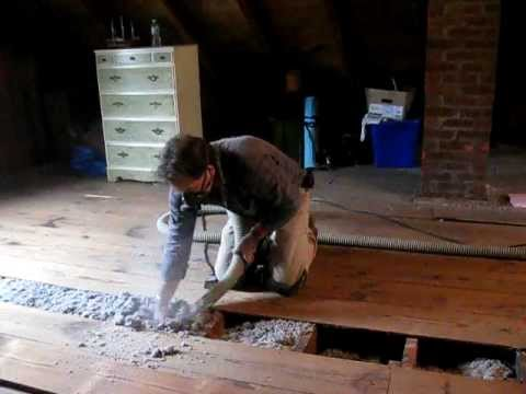 Installing Blown-In Cellulose Insulation under Attic Floor