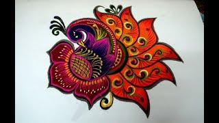 latest and beautiful peacock rangoli designs  innovative multicolor peacock kolam by simplerangoli