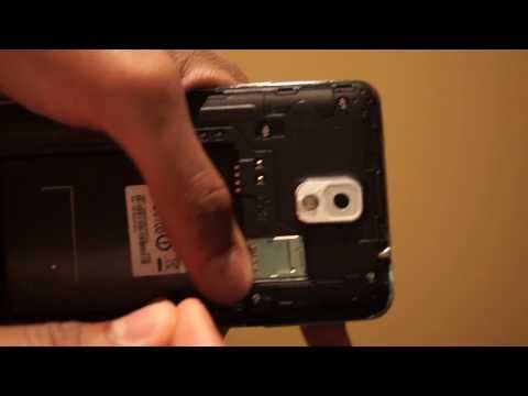 How to remove the back cover / battery door and insert MicroSD and Sim Card on Samsung Galaxy Note 3