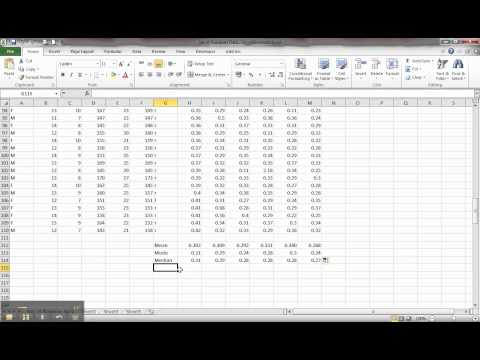 Statistics Coursework - Calculating a Mean, Mode and Median using Excel