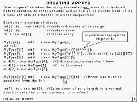 Java Tutorial 5.4 Arrays Part 4/15 - creating arrays