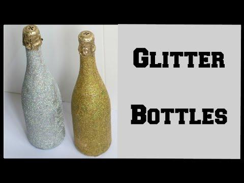 DIY Glitter Champagne Bottle! How to Glitter Wine Bottles | Ali Coultas