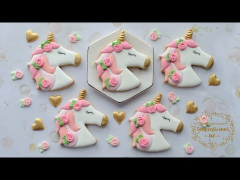 How to make UNICORN COOKIES with Roses in her hair - Royal Icing Rosette tutorial included