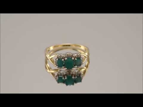 047509 - 9ct Gold Emerald And Diamond Cluster Ring 10pts