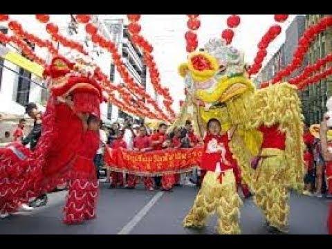 Tet Lunar new year lion dance