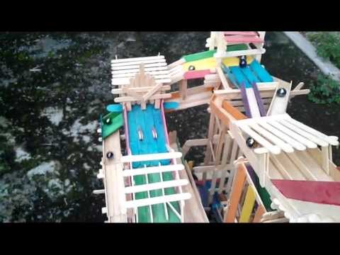 Multi-route marble run made from popsicle sticks