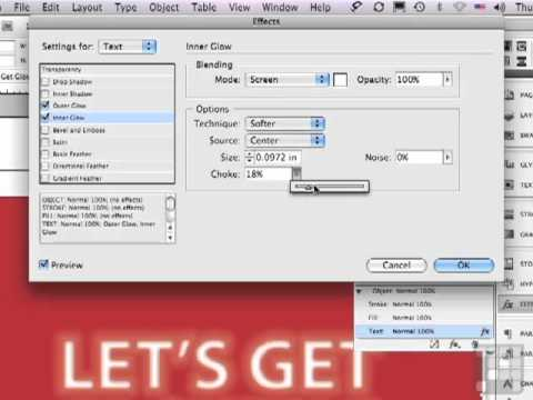 Tutorial - Creating Glowing Text effects  with  InDesign CS5