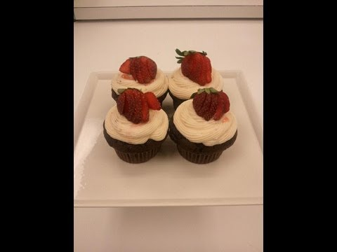 Chocolate Cupcakes with Strawberry Cream Cheese