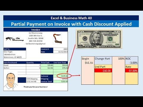 Excel & Business Math 40: Partial Payment on Invoice with Cash Discount, Credit to Account Balance?