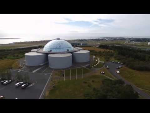 Iceland Reykjavik Perlan from sky - drone movie - Parrot bebop 2