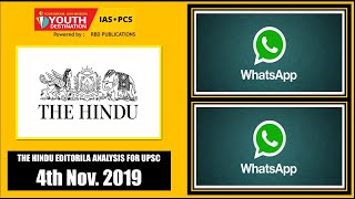 'The Hindu' Analysis for 4th Nov, 2019 (Current Affairs for UPSC/IAS)