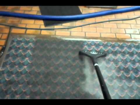 heavy soiled carpet removing grease with steam clean truckmount